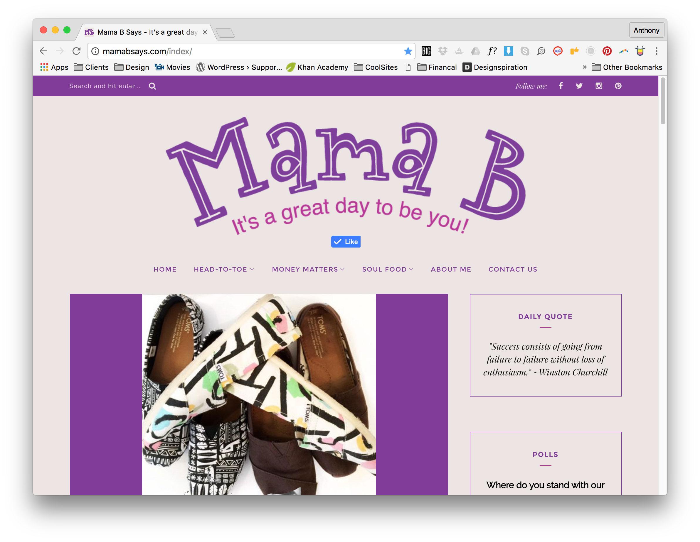 Mama B Homepage